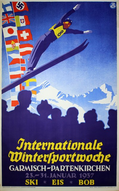 Internationale Wintersportwoche - Garmisch-Partenkirchen 1937 poster designed by Henel, Edwin Hermann (1883-1953)