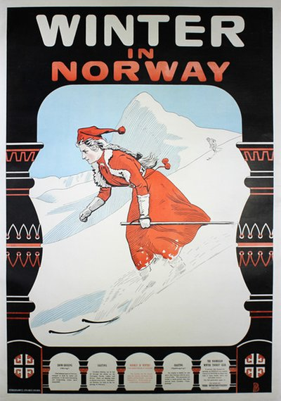 Winter in Norway original poster designed by Bloch, Andreas (1860-1917)