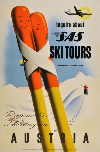 Austria Ski Tours by SAS poster designed by Walter Hoffmann (1906-1975)