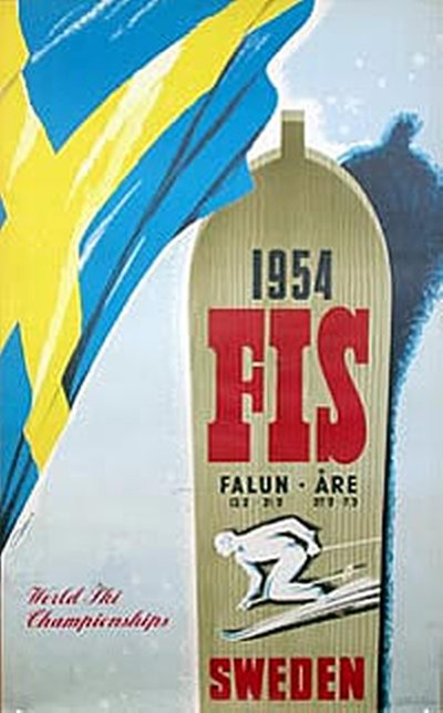 FIS World Championships Falun - Åre 1954 poster designed by Gunnar Dahlin