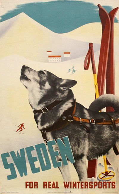 Sweden for real Wintersports original poster designed by Beckman, Anders (1907-1967)