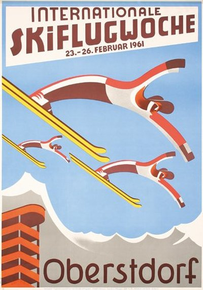 Oberstdorf - Internationale Skiflugwoche original poster designed by Willy Huber