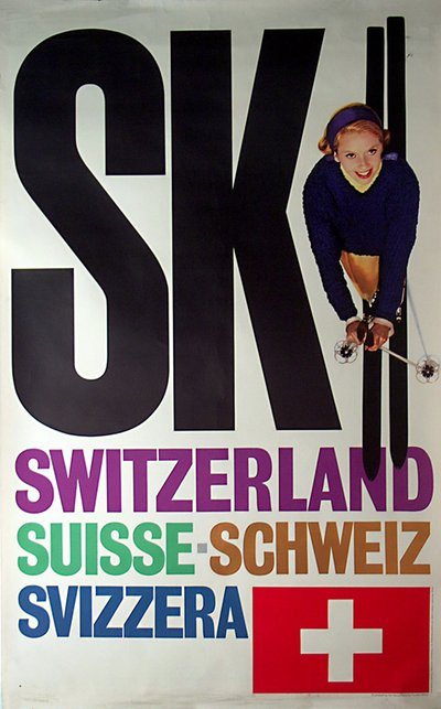 Ski Switzerland  original poster designed by Rene Bittel / Herbert Lubalin