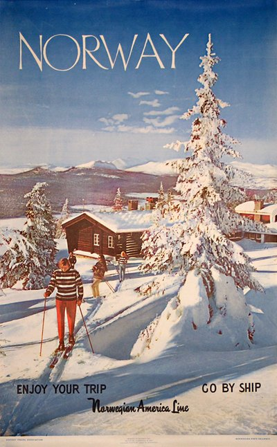 Norway - Ski - Norwegian  America Line original poster designed by Arne W. Normann