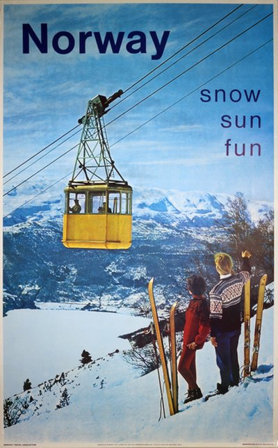 Norway - Snow Sun Fun Ski Poster Photo: Knudsen