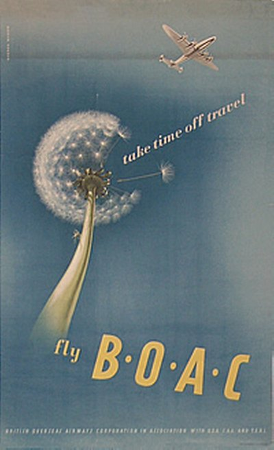 BOAC - Take time off travel poster designed by Norman Weaver