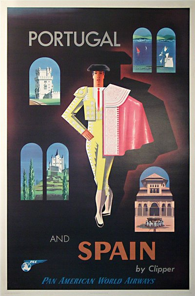 Pan American - Portugal and Spain by Clipper original poster designed by Carlu, Jean (1900-1997)