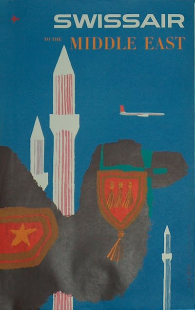 Swissair  to Middle East poster designed by Fritz Bühler