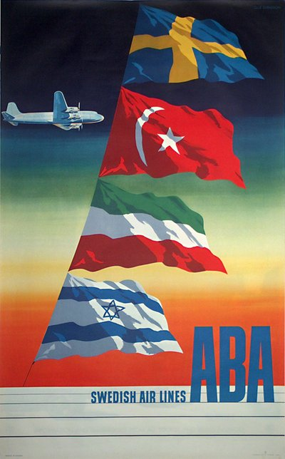 ABA - Swedish Air Lines  original poster designed by Svensson, Olle