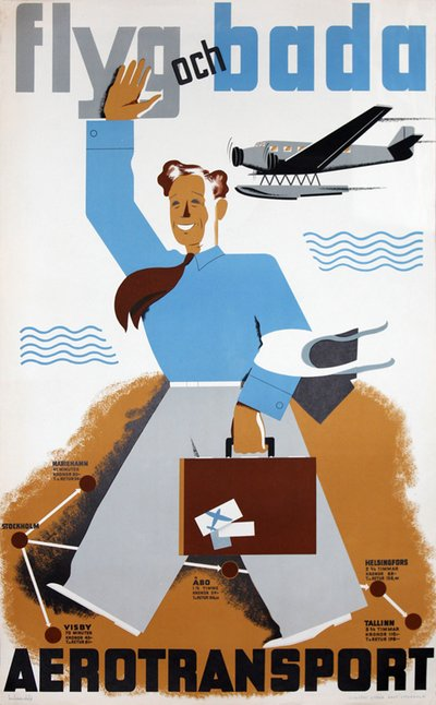 Aerotransport - Flyg och Bada poster designed by Beckman, Anders (1907-1967)