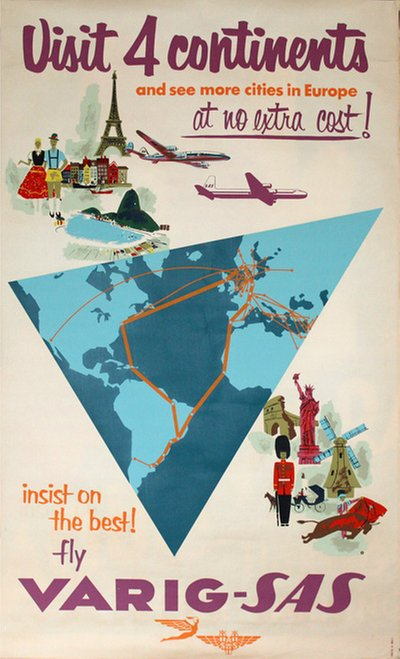 VARIG - SAS - Visit 4 continents original poster designed by S