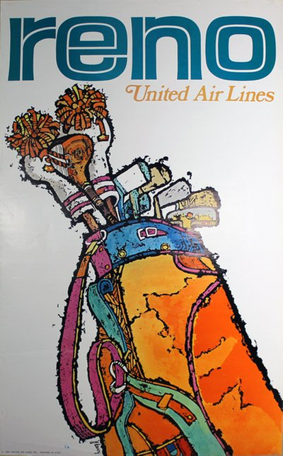 Unitied Air Lines - Reno - Golf original poster designed by Jebary