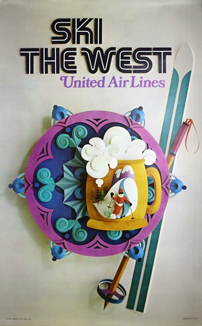 United Air Lines - Ski the West original poster
