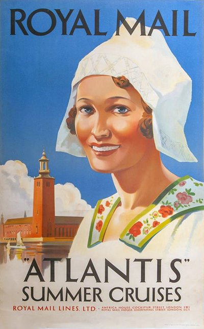 Royal Mail Atlantis Summer Cruises Stockholm Sweden poster designed by Padden, Percy (1885-1965)
