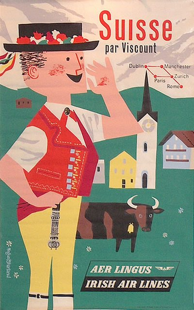 Aer Lingus - Suisse original poster designed by Richard Negus & Philip Sharland