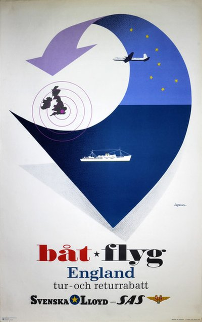 Swedish Lloyd - SAS poster designed by Lagerson, Rolf H. (1925-2006)