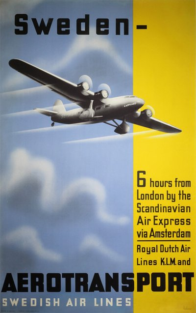 Aerotransport original poster designed by Beckman, Anders (1907-1967)