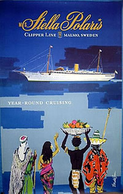 Clipper Line - M S Stella Polaris original poster designed by Brun, Donald (1909–1999)