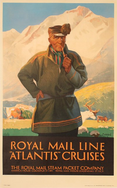 Royal Mail Line Atlantis Cruises poster designed by Padden, Percy (1885-1965)