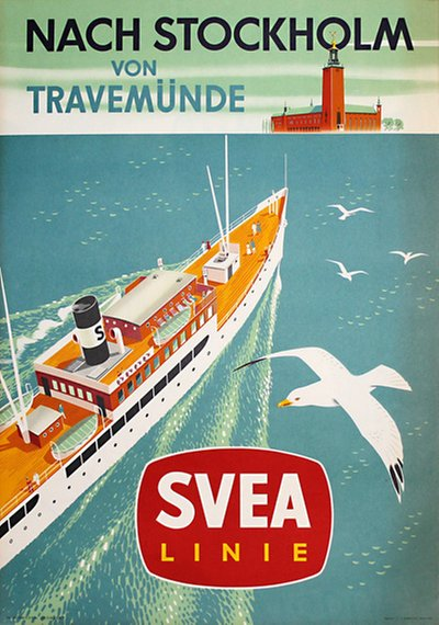 Svea Linie - Stockholm Travemünde original poster designed by Penco