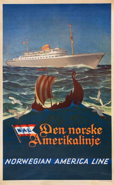 Original vintage poster: NAL - Norwegian America Line for ...