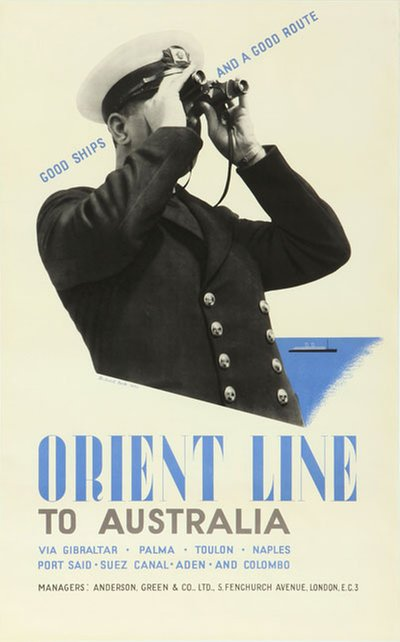 Orient Line - to Australia poster designed by Beck, Richard (1912-1985)