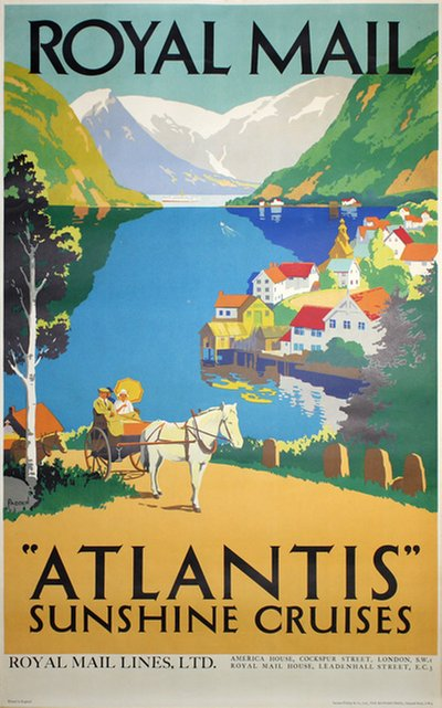 Royal Mail Atlantis Sunshine Cruises poster designed by Padden, Percy (1885-1965)