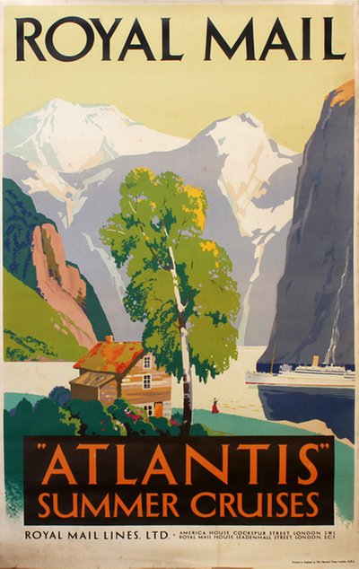 Royal Mail Atlantis Summer Cruises 1938 original poster designed by Padden, Percy (1885-1965)