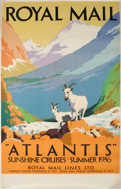 Royal Mail Atlantis Sunshine Cruises Summer 1936 original poster designed by Padden, Percy (1885-1965)