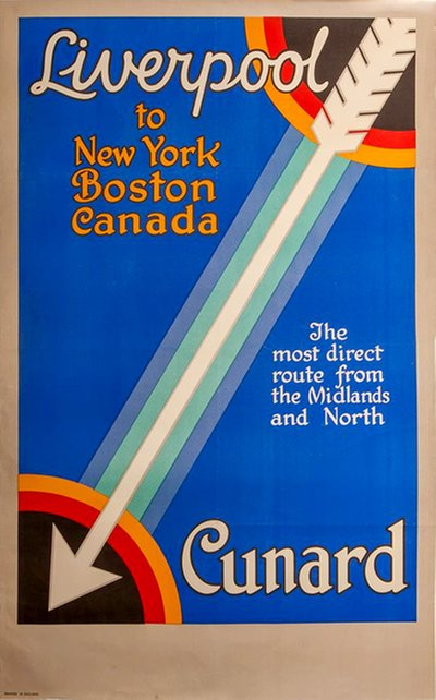 Cunard - Liverpool to New York Boston Canada original poster