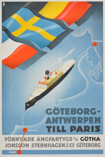 Göteborg - Antwerpen - Steam Ship Belgia	  original poster designed by Olsén, Hans Erik (1911-1983)