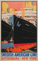Swedish American Line Gothenburg New York vintage poster