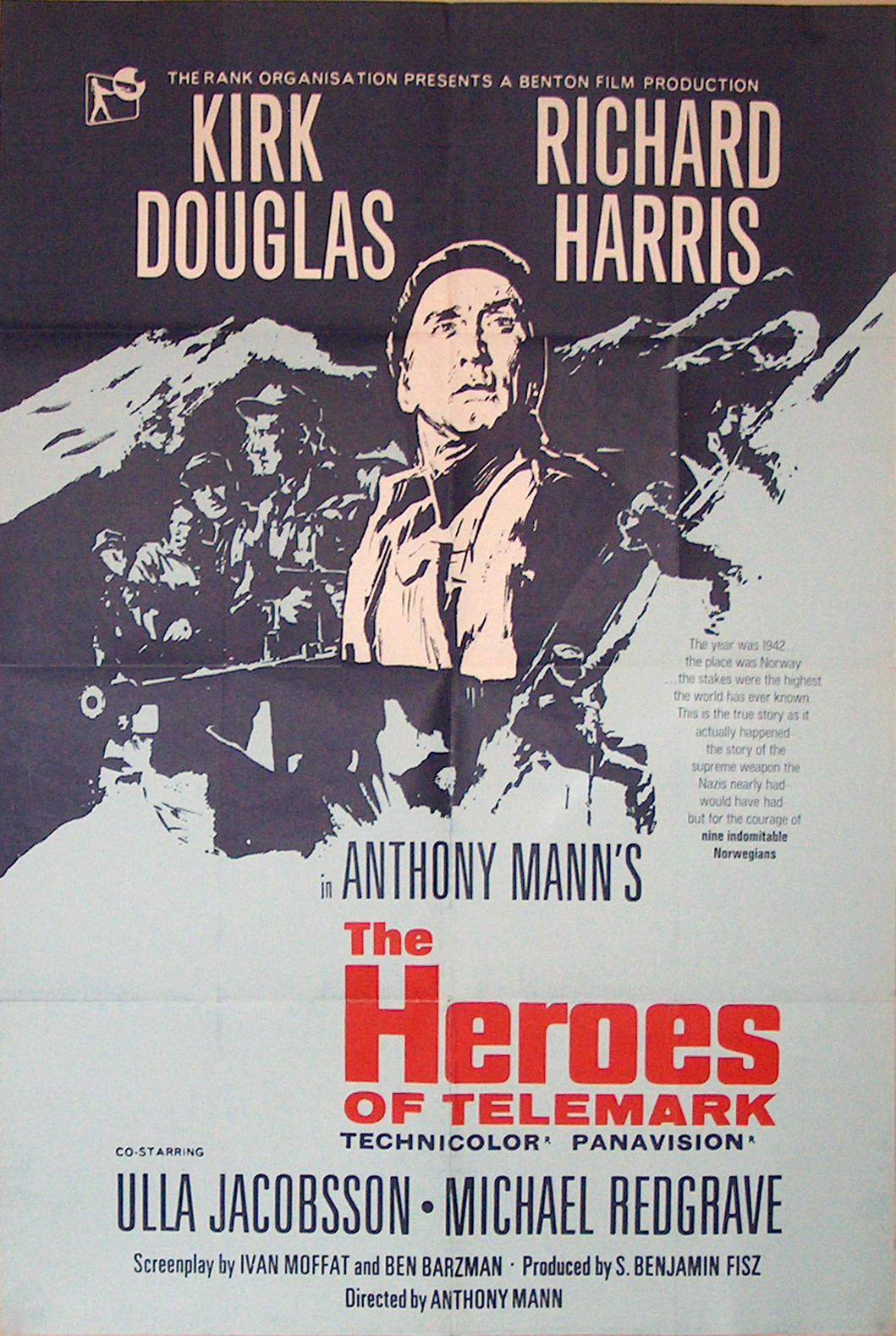 Original Vintage Poster The Heroes Of Telemark For Sale