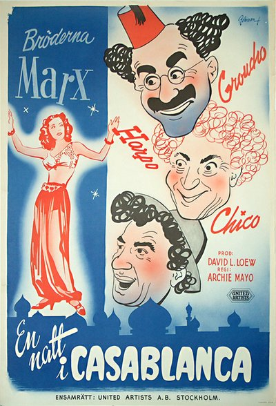 En Natt i Casablanca - (A Night in Casablanca) - The Marx Brothers original poster designed by Rohman, Eric (1891-1949)