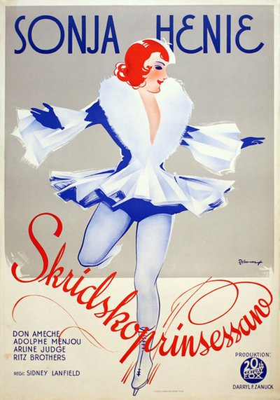 Sonja Henie - Skridskoprinsessan (org. Tiltle: One in a Million) original poster designed by Rohman, Eric (1891-1949)