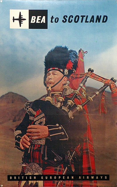 BEA to Scotland - Bagpiper original poster