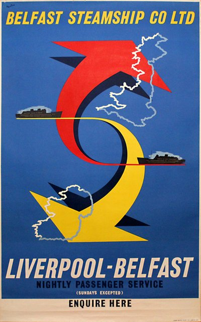 Belfast Steamship Co Ltd - Liverpool - Belfast original poster designed by Nevin
