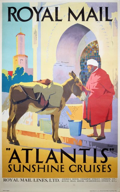 Royal Mail Atlantis Sunshine Cruises original poster designed by Padden, Percy (1885-1965)
