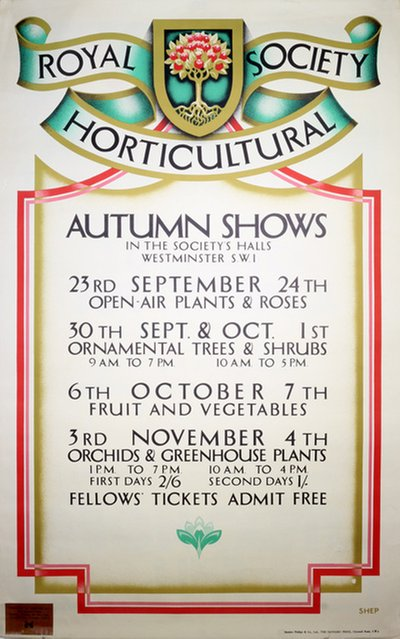Royal Horticultural Society Autumn Shows original poster designed by Shepard, Charles (1892-1976)