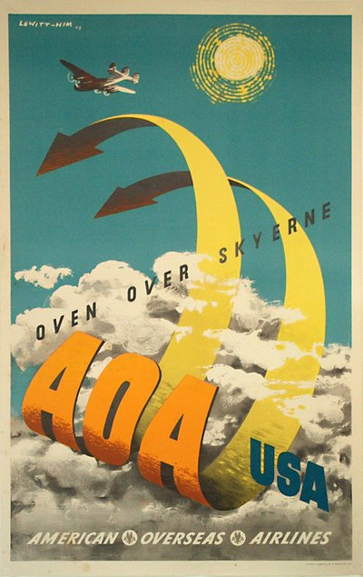 AOA American Overseas Airlines to USA poster designed by Jan Lewitt  (1907-1991) - George Him (1900-1982)