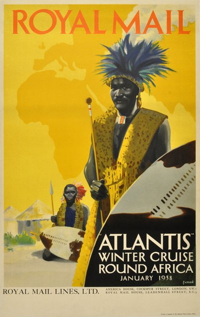 Royal Mail Atlantis Winter Cruise round Africa original poster designed by Padden, Percy (1885-1965)