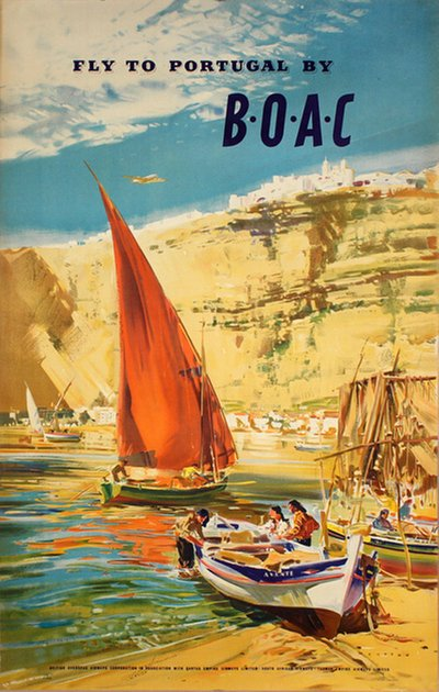 Fly to Portugal by BOAC  original poster designed by Wootton, Frank (1911-1998)
