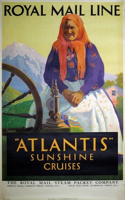 Royal Mail Line Atlantis Cruises original poster designed by Padden Percy (1885-1965)