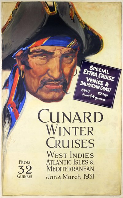 Cunard Winter Cruises 1931 poster designed by A H Frack?