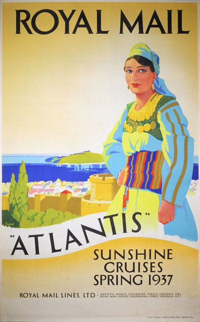 Royal Mail Atlantis Sunshine Cruises Summer 1937 Mediterranean Sea original poster designed by Padden, Percy (1885-1965)