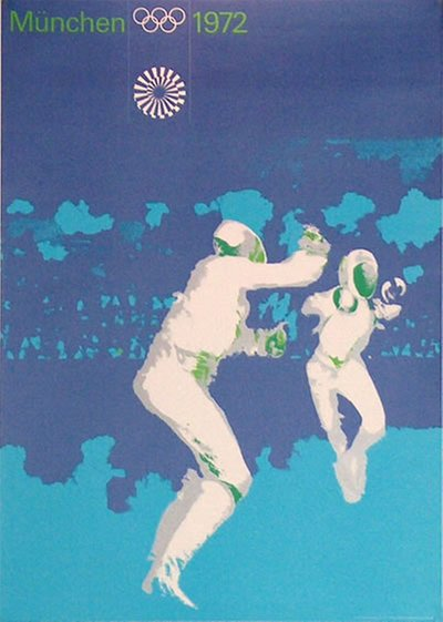 München 1972 - Fencing original poster designed by Aicher, Otl (1922-1991)