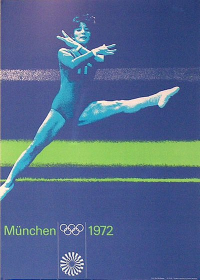 München 1972 - Gymnastics original poster designed by Aicher, Otl (1922-1991)