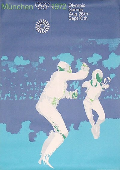 München  1972 - A0 - Fencing original poster designed by Aicher, Otl (1922-1991)