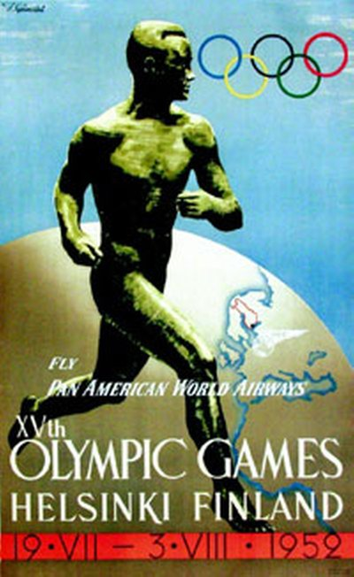 Xvth Olympic Games poster designed by Ilmari Sysimetsa