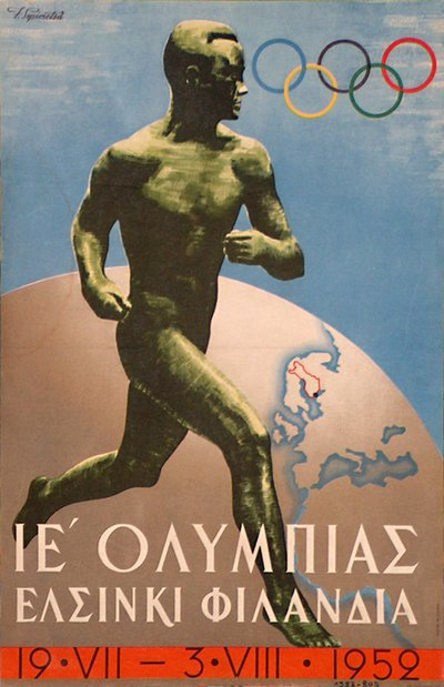 Olympic Games in Helsinki, Finland - (Greek version) original poster designed by Sysimetsà llmari